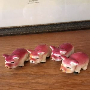 Set of Four Vintage Pink Pigs